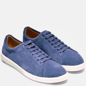 Cole Haan grand os crosscourt blue suede sneakers